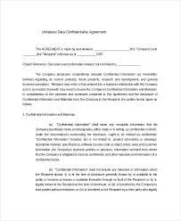 12 data confidentiality agreement templates u2013 free sample