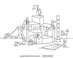 sketch diagram construction working people ruler stock vector