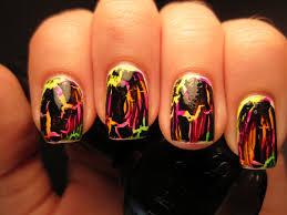 jessica u0027s nail art neon stripes and black crackle lisa frank