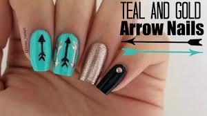 cute teal arrow nails easy nail art youtube