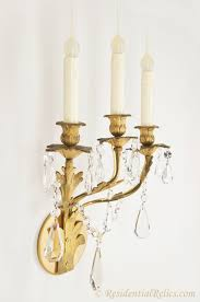 Crystal Wall Sconces Pair Of Antique Gilt Bronze And Crystal Wall Sconces Circa 1880s