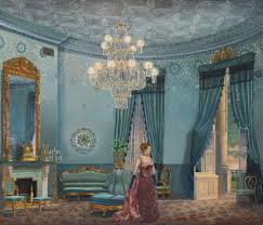 painting of frances folsom in the blue room white house