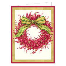boxed christmas cards caspari berry wreath boxed christmas cards paperstyle
