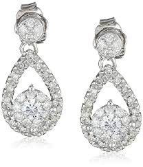 teardrop diamond earrings 14k white gold diamond teardrop earrings 1 2 cttw