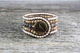 beaded leather cuff bracelet images 5 row beaded gemstone leather cuff with dumortierite jasper jpeg