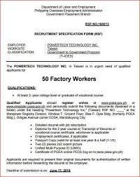 Resume For Factory Job by Job Opening 50 Factory Workers In Taiwan
