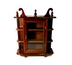 Wall Curio Cabinet Glass Doors Antique Wooden Small Curio Cabinet Glass Door Collectible Display