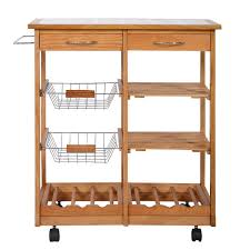 Furniture Kitchen Storage Amazon Com Portable Rolling Wooden Kitchen Trolley Cart