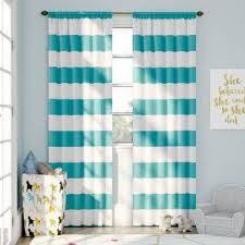 White And Navy Striped Curtains Striped Curtains Drapes You Ll Wayfair