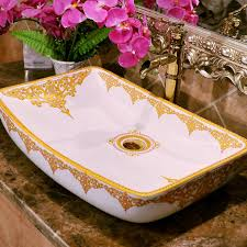 rectangular counter top wash basin cloakroom hand painted vessel