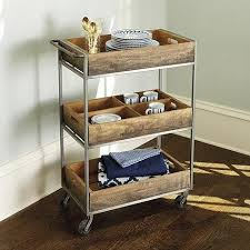 Laundry Room Cart - brown two basket kitchen cart