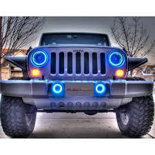 jeep wrangler blue headlights jeep wrangler v 3 fusion color change led halo fog light kit 2007