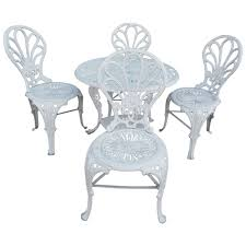 Cast Iron Bistro Chairs Antique Cast Iron Bistro Set Five Pieces At 1stdibs