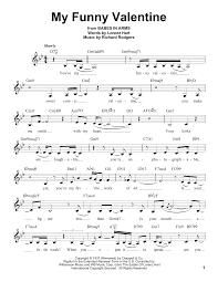 my funny valentine sheet music by rodgers u0026 hart voice u2013 183164