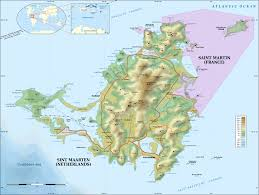 Topographic Map Of Usa by Large Detailed Topographical Map Of Saint Martin Island St
