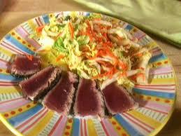 napa salad ahi tuna with napa cabbage salad recipe food network