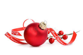 ornament with merry ribbon stock photo