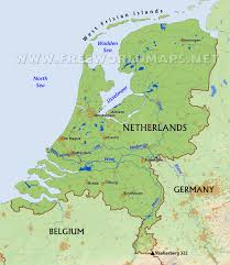 World Map Showing Netherlands by The Netherlands Physical Map