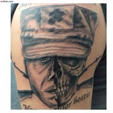 collaboration of army and skull