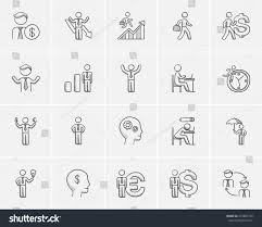 business sketch icon set web mobile stock vector 475885726