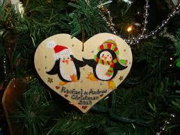penguin man lady couple wooden christmas heart hanger decoration