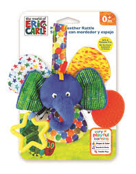 eric carle elephant mirror teether rattle toy toys