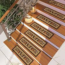amazon com set of 7 brown floral stair tread rugs modern