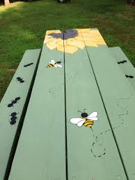 Painting Outdoor Wood Furniture Painted Picnic Table Diy Backyard Stuff Pinterest Painted