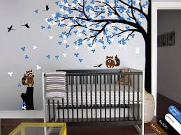 Nursery Tree Stickers For Walls Baby Room Tree Wall Decal With Flowers Leaves Butterflies And