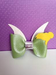 tinkerbell ribbon leather bow tinkerbell inspired bow clip fairies and bows