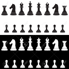 black and white chess pieces vector icon set with king queen