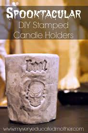 halloween votive candle holders my very educated mother spooktacular diy stamped candle holders