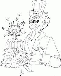 uncle sam with 4th of july cake coloring pages printable