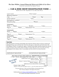 car show registration form templates word excel samples