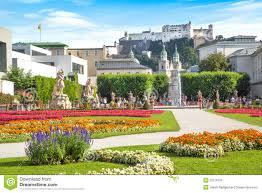famous mirabell gardens in salzburg austria royalty free stock