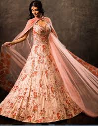 peach color embroidered gown ladyselection
