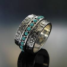 silver rings vintage images Turquoise spinner silver band wide sterling silver ring unisex jpg