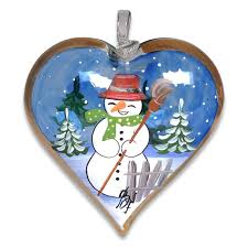 snowman painted signed glass ornament