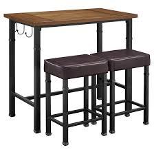 linon home decor bar stools 3 piece austin pub set metal black linon home decor padded bar