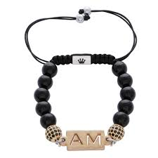 initials bracelet the black agate canterbury beaded my name initials