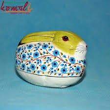 paper mache rabbit rabbit keepsake box green animal shape painted paper mache box