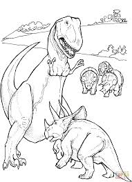tyrannosaurus and triceratops coloring page free printable