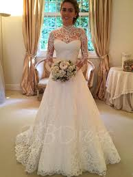 wedding dress high neck high neck sleeves lace a line court wedding dress