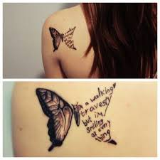 butterfly and words cool tattoos