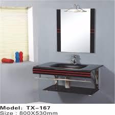 Floor Standing Mirrored Bathroom Cabinet Simple Floor Standing Glass Bathroom Basin Bathroom Double Wash
