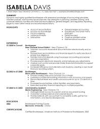 resume examples templates free sample format bookkeeper resume