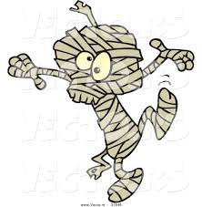 halloween graphic art vector of a dancing cartoon mummy on halloween by toonaday 31840