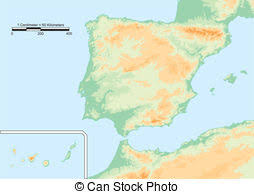 physical map of spain map of and spain 3d clipart search illustration