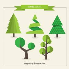 modern trees pack in flat design vector free