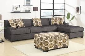 Black Fabric Sectional Sofas 3 Pieces Faux Linen Sectional Sofa With Ottoman Ash